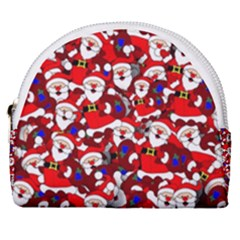 Nicholas Santa Christmas Pattern Horseshoe Style Canvas Pouch by Simbadda