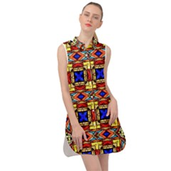 Stained Glass Pattern Texture Sleeveless Shirt Dress by Simbadda