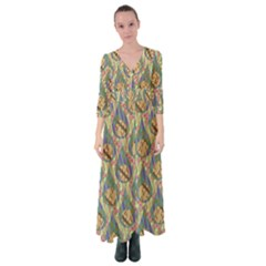 Tribal Background Boho Digital Paper Button Up Maxi Dress