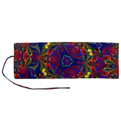 Kaleidoscope Pattern Ornament Roll Up Canvas Pencil Holder (m)