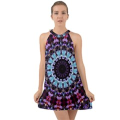 Kaleidoscope Shape Abstract Design Halter Tie Back Chiffon Dress