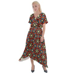 Pattern Stained Glass Church Cross Front Sharkbite Hem Maxi Dress