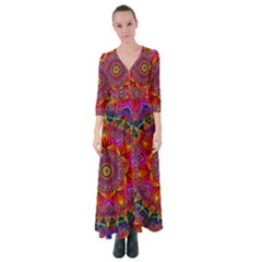 Kaleidoscope Pattern Ornament Button Up Maxi Dress