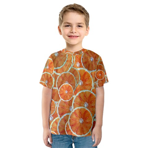 Oranges Background Texture Pattern Kids  Sport Mesh Tee by Simbadda