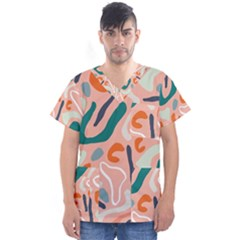 Organic Forms And Lines Seamless Pattern Men s V-neck Scrub Top