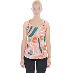 Organic Forms And Lines Seamless Pattern Piece Up Tank Top