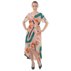 Organic Forms And Lines Seamless Pattern Front Wrap High Low Dress