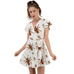 Insect Spider Wildlife Flutter Sleeve Wrap Dress by Mariart