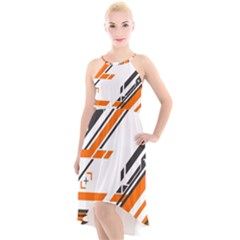 Abstract Art Pattern High Low Halter Chiffon Dress