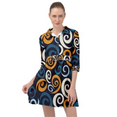Colorful Curves Pattern Mini Skater Shirt Dress by Vaneshart