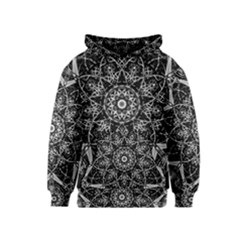 Black And White Pattern Monochrome Lighting Circle Neon Psychedelic Illustration Design Symmetry Kids  Pullover Hoodie