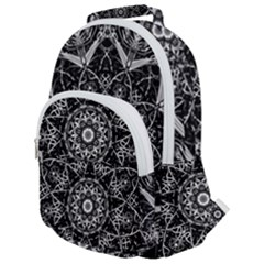 Black And White Pattern Monochrome Lighting Circle Neon Psychedelic Illustration Design Symmetry Rounded Multi Pocket Backpack by Vaneshart