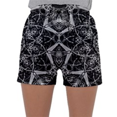 Black And White Pattern Monochrome Lighting Circle Neon Psychedelic Illustration Design Symmetry Sleepwear Shorts by Vaneshart