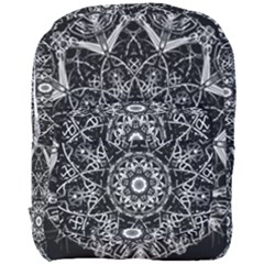 Black And White Pattern Monochrome Lighting Circle Neon Psychedelic Illustration Design Symmetry Full Print Backpack by Vaneshart