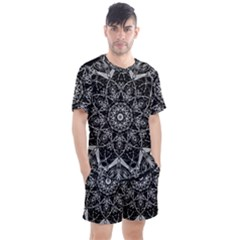 Black And White Pattern Monochrome Lighting Circle Neon Psychedelic Illustration Design Symmetry Men s Mesh Tee And Shorts Set