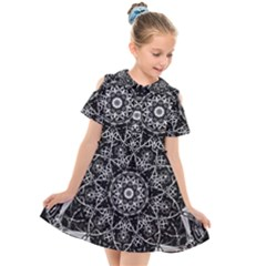 Black And White Pattern Monochrome Lighting Circle Neon Psychedelic Illustration Design Symmetry Kids  Short Sleeve Shirt Dress by Vaneshart