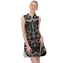 Black And White Pattern Monochrome Lighting Circle Neon Psychedelic Illustration Design Symmetry Sleeveless Shirt Dress
