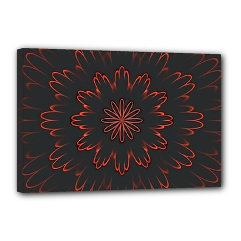 Abstract Glowing Flower Petal Pattern Red Circle Art Illustration Design Symmetry Digital Fantasy Canvas 18  X 12  (stretched)