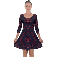 Abstract Glowing Flower Petal Pattern Red Circle Art Illustration Design Symmetry Digital Fantasy Quarter Sleeve Skater Dress by Vaneshart