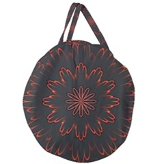 Abstract Glowing Flower Petal Pattern Red Circle Art Illustration Design Symmetry Digital Fantasy Giant Round Zipper Tote by Vaneshart