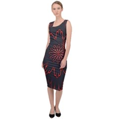 Abstract Glowing Flower Petal Pattern Red Circle Art Illustration Design Symmetry Digital Fantasy Sleeveless Pencil Dress