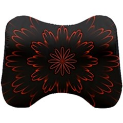 Abstract Glowing Flower Petal Pattern Red Circle Art Illustration Design Symmetry Digital Fantasy Head Support Cushion