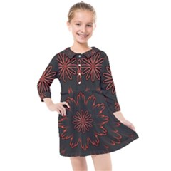 Abstract Glowing Flower Petal Pattern Red Circle Art Illustration Design Symmetry Digital Fantasy Kids  Quarter Sleeve Shirt Dress by Vaneshart