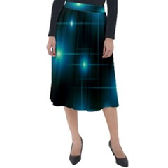 Light Shining Lighting Blue Night Classic Velour Midi Skirt