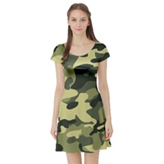Army Camo Pattern Short Sleeve Skater Dress by Vaneshart