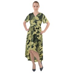 Army Camo Pattern Front Wrap High Low Dress by Vaneshart