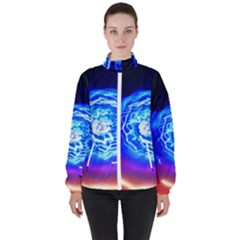 Light Circle Ball Sphere Organ Shape Physics Volgariver Ununseptium Z117 Unoptanium Island Women s High Neck Windbreaker