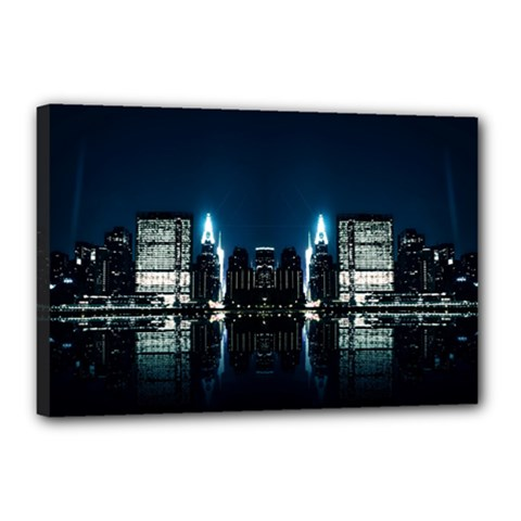 Night City Landscape Canvas 18  X 12  (stretched)