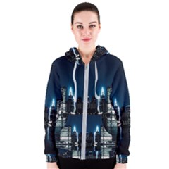 Night City Landscape Women s Zipper Hoodie