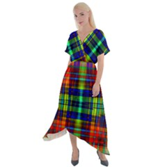 Plaid 6 Cross Front Sharkbite Hem Maxi Dress