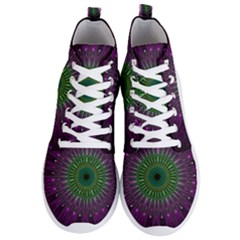 Light Abstract Flower Purple Petal Glass Color Circle Art Symmetry Digital Shape Fractal Macro Photo Men s Lightweight High Top Sneakers