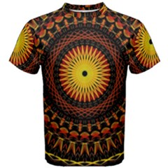 Spiral Pattern Circle Neon Psychedelic Illustration Design Symmetry Shape Mandala Men s Cotton Tee by Vaneshart