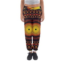 Spiral Pattern Circle Neon Psychedelic Illustration Design Symmetry Shape Mandala Women s Jogger Sweatpants by Vaneshart