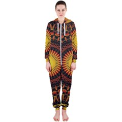 Spiral Pattern Circle Neon Psychedelic Illustration Design Symmetry Shape Mandala Hooded Jumpsuit (ladies)  by Vaneshart