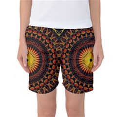 Spiral Pattern Circle Neon Psychedelic Illustration Design Symmetry Shape Mandala Women s Basketball Shorts by Vaneshart