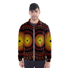 Spiral Pattern Circle Neon Psychedelic Illustration Design Symmetry Shape Mandala Men s Windbreaker by Vaneshart