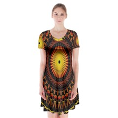 Spiral Pattern Circle Neon Psychedelic Illustration Design Symmetry Shape Mandala Short Sleeve V-neck Flare Dress by Vaneshart