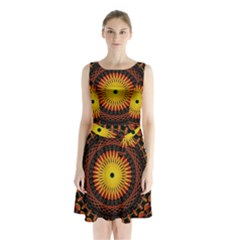 Spiral Pattern Circle Neon Psychedelic Illustration Design Symmetry Shape Mandala Sleeveless Waist Tie Chiffon Dress by Vaneshart