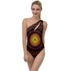 Spiral Pattern Circle Neon Psychedelic Illustration Design Symmetry Shape Mandala To One Side Swimsuit by Vaneshart