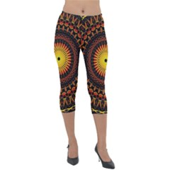 Spiral Pattern Circle Neon Psychedelic Illustration Design Symmetry Shape Mandala Lightweight Velour Capri Leggings  by Vaneshart