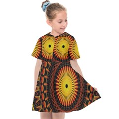 Spiral Pattern Circle Neon Psychedelic Illustration Design Symmetry Shape Mandala Kids  Sailor Dress by Vaneshart