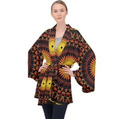 Spiral Pattern Circle Neon Psychedelic Illustration Design Symmetry Shape Mandala Long Sleeve Velvet Kimono  by Vaneshart