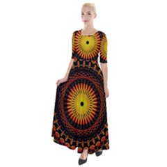 Spiral Pattern Circle Neon Psychedelic Illustration Design Symmetry Shape Mandala Half Sleeves Maxi Dress by Vaneshart