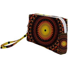 Spiral Pattern Circle Neon Psychedelic Illustration Design Symmetry Shape Mandala Wristlet Pouch Bag (small)