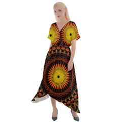 Spiral Pattern Circle Neon Psychedelic Illustration Design Symmetry Shape Mandala Cross Front Sharkbite Hem Maxi Dress by Vaneshart