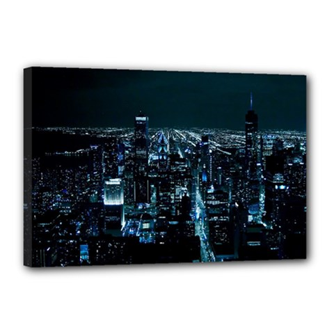 Building Night City Canvas 18  X 12  (stretched)